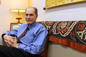 University Chaplain Joe Eldridge on his office sofa, 2013