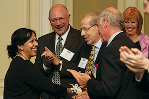 Kamalika Sandell is congratulated on winning the Women in Technology 2011 Leadership award in education IT.