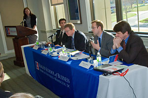 Photo: Kogod professor Jennifer Oetzel moderates a panel on Sudan.