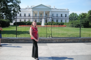 Washington Semester student in front of the White House.