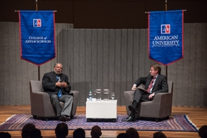 Alumnus Lonnie Bunch shares the stage with AU President Neil Kerwin.