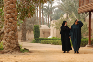 Veiled women walking in the street.