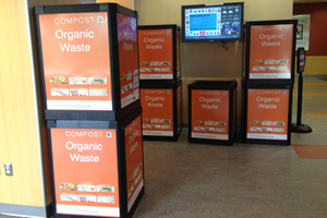 Orange organic waste bins in MGC