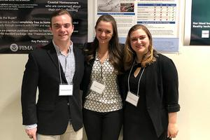 Matt Mullins, Irena Volkov, and Samantha Hepworth present their I-CORPS projects at the Mathias Student Research Conference.