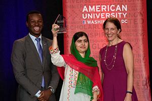 KPU Director Shyheim Snead (left), Malala Yousafzai, and AU President Sylvia Burwell. Credit: Jeff Watts.