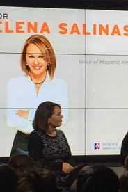 Maria Elena Salinas sits in front of a screen during her hour-long panel discussion
