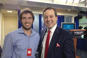 SOC Film student Matthew Carter takes a minute to pose with Fox News White House correspondent Ed Henry.