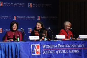 Anita McBride, Tina Tchen and Ambassador Melanne Verveer sitting at the event.