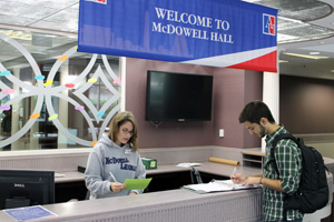 McDowell Hall sports a new reception desk.