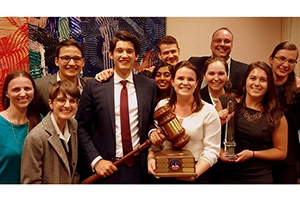 SPA's Mock Trial team with the award from the 2016 GAMTI.