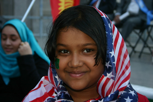 Muslim girl with American flag.