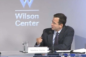 Professor Matthew Taylor giving a presentation at the Wilson Center.
