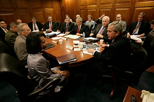 President George W. Bush meets with the National Security Council