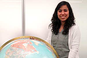 Nora Brito, one of three AU juniors awarded a 2011 PPIA Fellowship, at the United Nations Headquarters.