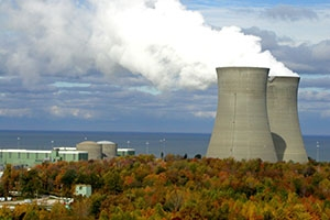 Nuclear towers expelling water vapor.
