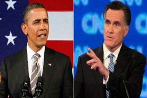 Barack Obama, left, and Mitt Romney, right