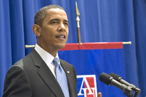 President Barack Obama at American University July 1, 2010.