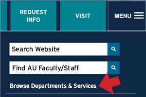 The new online directory can be found from the AU website main menu.