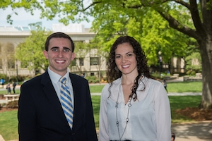 Amanda Molina and Matt Waskiewicz honored for outstanding service to AU.