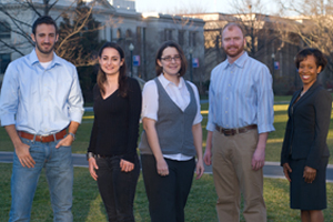 Five of AU's 16 2012 PMF Finalists. From left to right: Michael  Schwartz, Halima Woodhead, Laura Drummond, William Stuart Huffman, and Angell Green. (Photo by Jeff Watts)