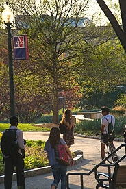 AU students walk on campus during the summer.