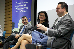 A panel of successful alumni gave tips and encouragement to American University students at the NYC@AU2 PRSSA event.