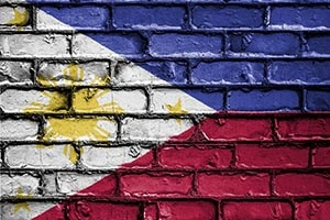 Philippine flag painted on bricks