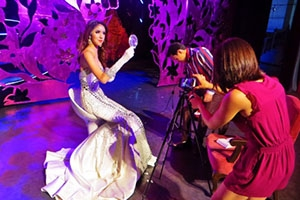 Pulitzer Student Fellow Julia Boccagno prepares to interview a transgender cabaret performer backstage at Tiffany's Show Pattaya. Image Courtesy of Julia Boccagno. Thailand, 2015