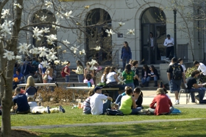 Students sitting in a circle on the quad