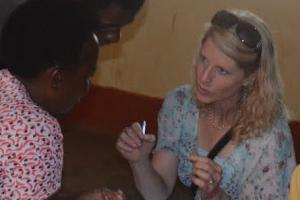 Katie Holton talking with Kenyan villager