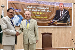 Professor Ahmed with Vice Chancellor Dr. Habib-ur-Rehman on stage at MUST in Mirpur.