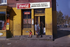 Louise Rosskam. [Shulman's Market, 485 1/2 N at Union Street, SW, Washington, D.C.], 1942. Kodachrome transparency.  4 x 5 inches. Courtesy of the Library of Congress.<br /> <br />