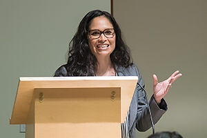 AU professor Theresa Runstedtler spoke at a September event rolling out the new African American and African Diaspora Studies major. Photo: Professor speaking at a lectern.