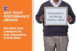 2017 Staff Performance Awards: Make your nominations by March 1, 2017