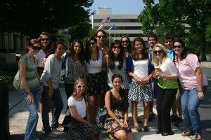 a class of Community of Scholars pose in downtown DC