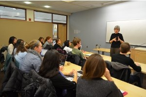 Professor Elizabeth Cohn instructs her first-year seminar students in her course