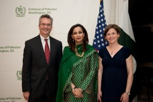 Dean James Goldgeier and Professor Rachel Sullivan Robinson at the Embassy of Pakistan with Ambassador Sherry Rehman.