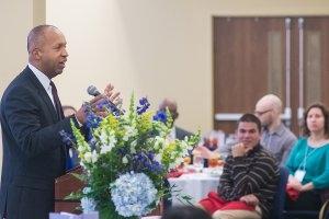 Founder and Executive Director of the Equal Justice Initiative Bryan A. Stevenson spoke at the Intercultural Management Institute Conference March 14.