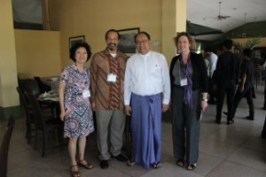 Professors Pek Koon Heng, Derrick L. Cogburn (l) and Dean Carola Weil of the School of Professional and Extended Studies (r) met with Dr. Zaw Oo, AU alumnus and Chief Economic Adviser to Thein Sein, President of the Republic of the Union of Myanmar.