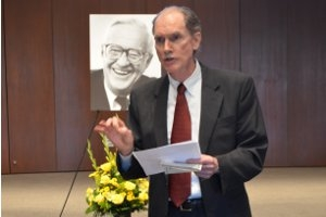 University Chaplain Joe Eldridge spoke at Dean William Olson's memorial service April 10.