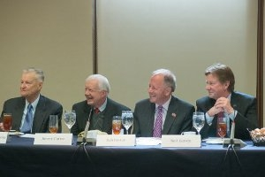 Zbigniew Brzezinski, President Jimmy Carter, Professor Robert Pastor and AU President Neil Kerwin at the March 5 event honoring Pastor.