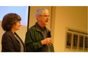 Professor Judith Shapiro looks on as Gary Marcuse, director of Waking the Green Tiger, speaks at the DC Environmental Film Festival in March.