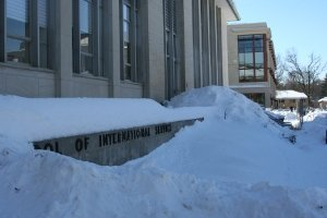 The SIS sign is buried in snow in February 2010. Photo courtesy of Mackenzie O'Donnell.