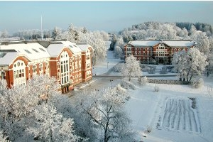 NMBU Campus buildings covered in snow