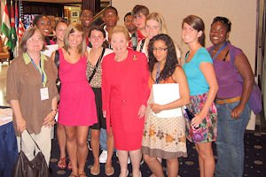 Students from the 2009 Washington Community of Scholars program pose with former Secretary of State Madeleine Albright