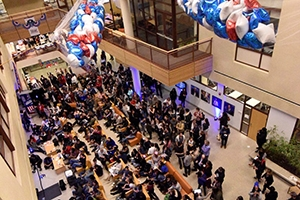 SIS Atrium full of guests at Election Night Party