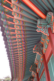 An image of a decorated Korean roof in South Korea.