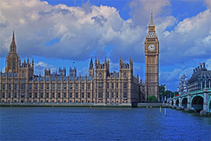 UK Parliament from opposite the Thames River