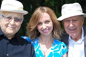 Comedy legends Norman Lear and Carl Reiner with executive producer Caty Borum Chattoo