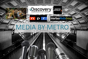 A photo of a metro station with media outlet logos overlaid.